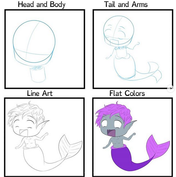 How to draw chibi mermaids